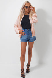 Peach Buckle Neck Bomber Jacket