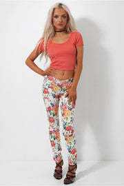 Sahara Coral Cross Back Crop Top