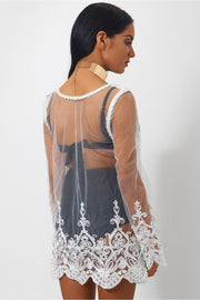 Malaka White Lace Cover Up
