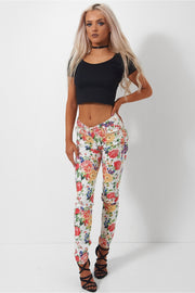 White Floral Skinny Jeans