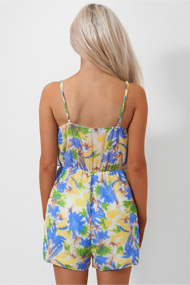 Tia Palm Print Frill Playsuit