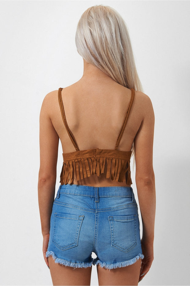 Rianan Brown Suede Fringe Bralet Top