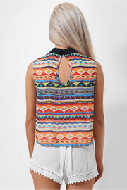 Venice Aztec Print Sleeveless Top In Yellow