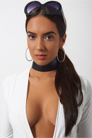 Isa Black PU Wide Choker