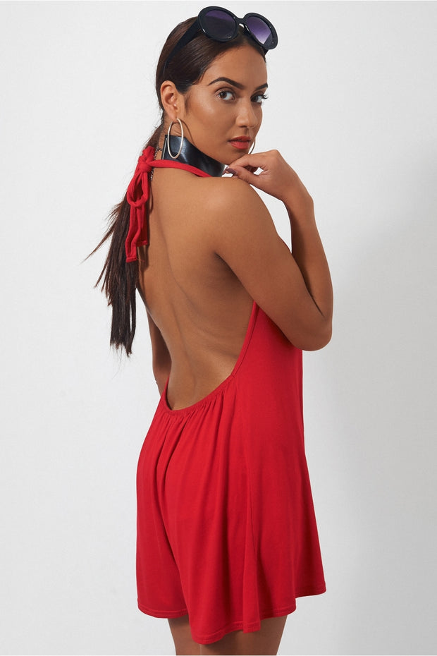 Mina Red Backless Playsuit