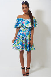 Blue Floral Bardot Dress