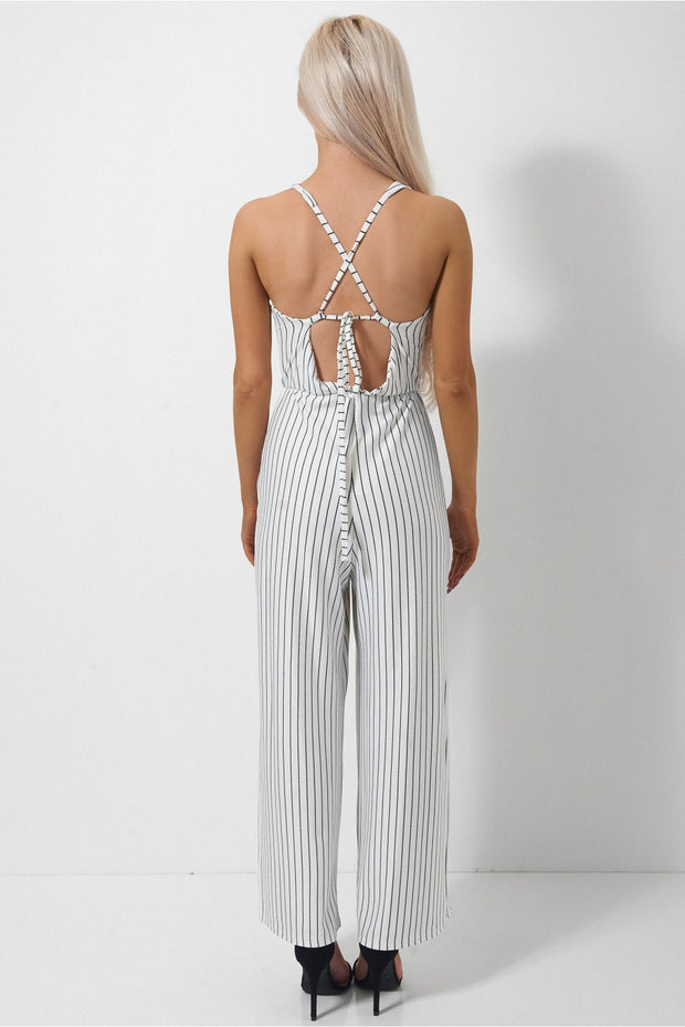Cayla Pin Stripe Cross Back Jumpsuit