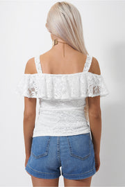 Mina White Lace Bardot Top