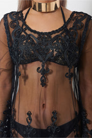 Malaka Black Lace Cover Up
