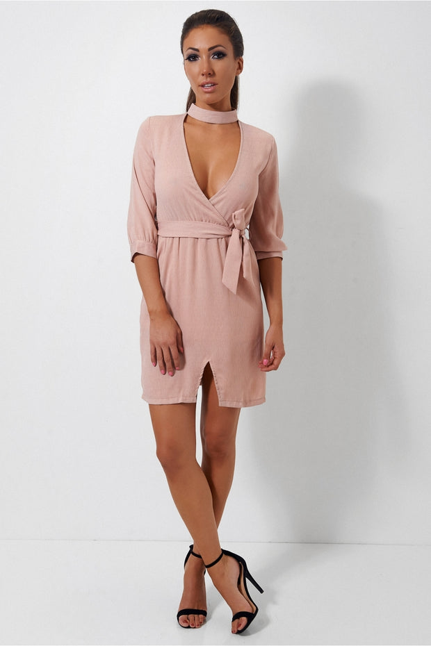 Nude Choker Shift Dress