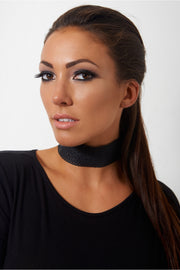 Laser Cut Black PU Choker