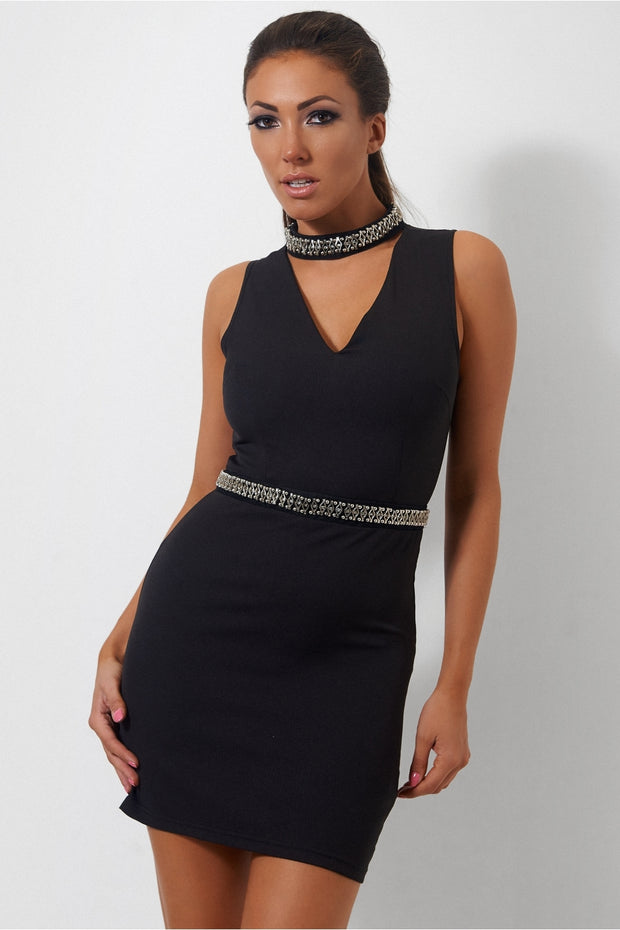 Black Embellished Choker Dress