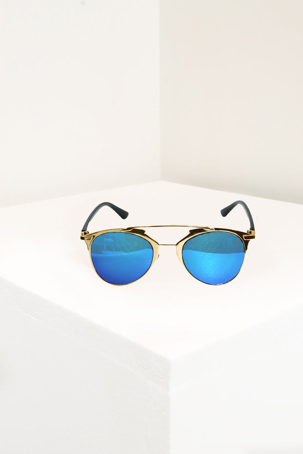 Indigo Blue & Gold Oversized Sunglasses