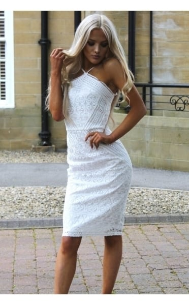 Sienna White Lace Midi Dress