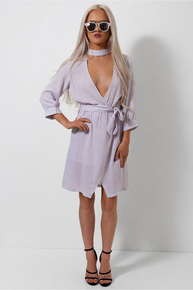 Lilac Choker Shift Dress