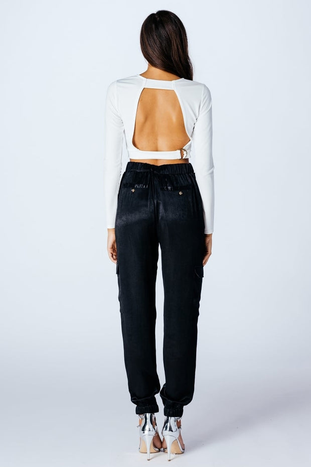 Black High Waisted Satin Utility Trousers