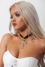 Kandi Gold Oversized Cross Choker Necklace
