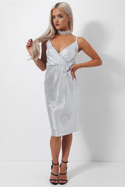 Tama Metallic Silver Midi Dress