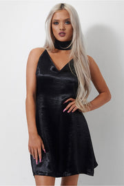 Kendall Black Satin Choker Dress