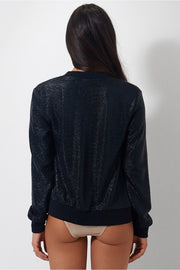 Nola Black Metallic Bomber Jacket