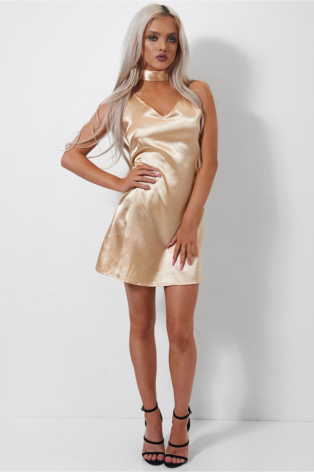 Siasa Gold Satin Choker Slip Dress