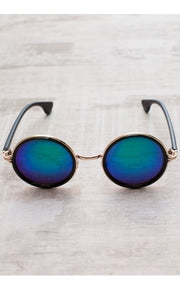Retro Round Blue & Green Frame Sunglasses