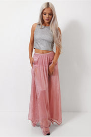 Zoe Chiffon Double Side Split Rose Maxi Skirt