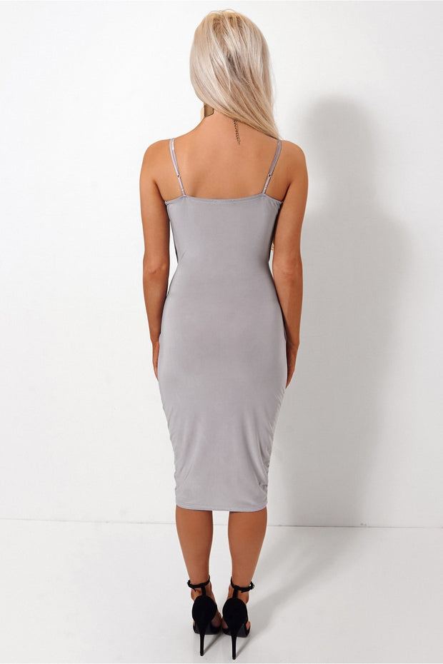 Shilo Grey Wrap Slinky Dress