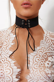 Kiki Black Suede Lace Up Choker