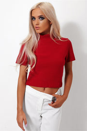 Binky Red Cropped Boxy Jumper