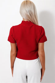 Red Cropped Boxy Jumper