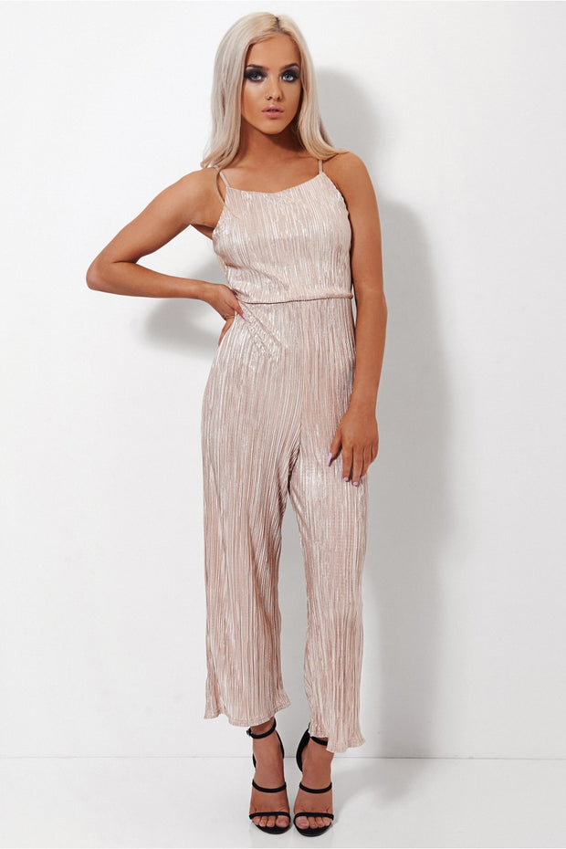 Gold Satin Tie Back Jumpsuit