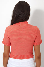 Coral Cropped Boxy Jumper