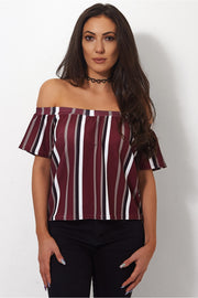 Burgundy Stripe Bardot Top
