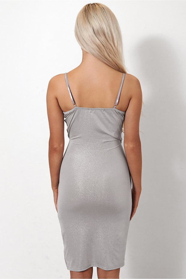 Shilo Silver Satin Slinky Bodycon Dress