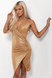 Shilo Gold Satin Slinky Bodycon Dress