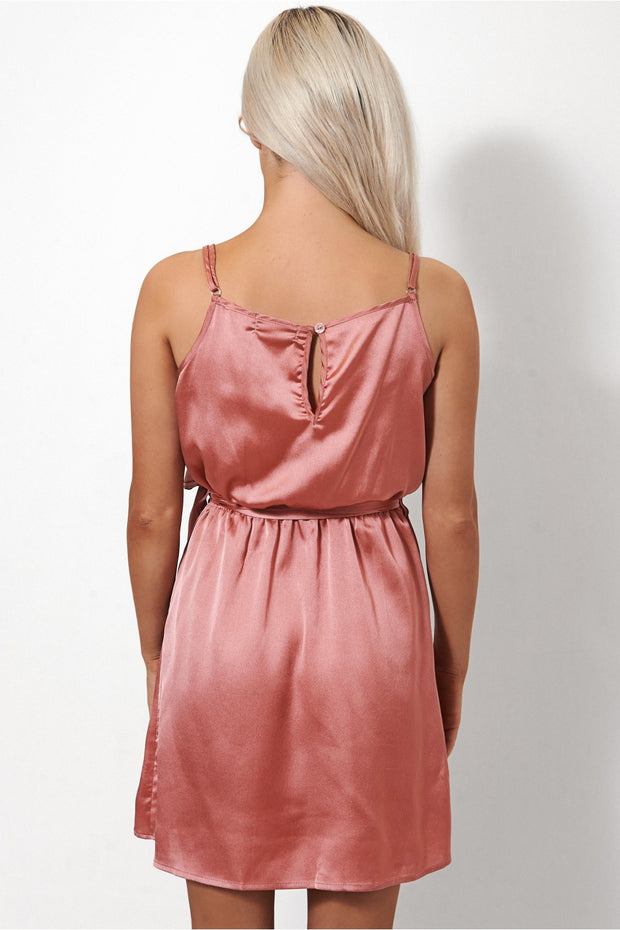 Zeka Rose Pink Satin Slip Dress