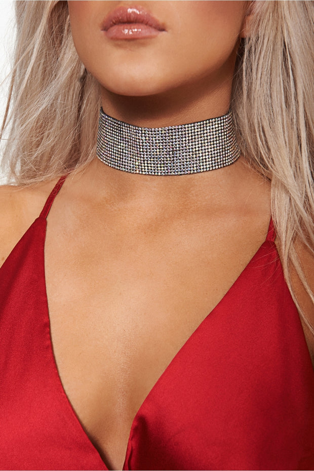 Mermaid Rhinestone Multicoloured Choker