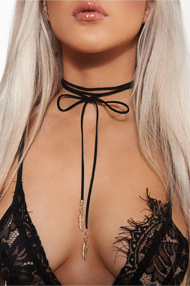Black Feather Choker Necklace