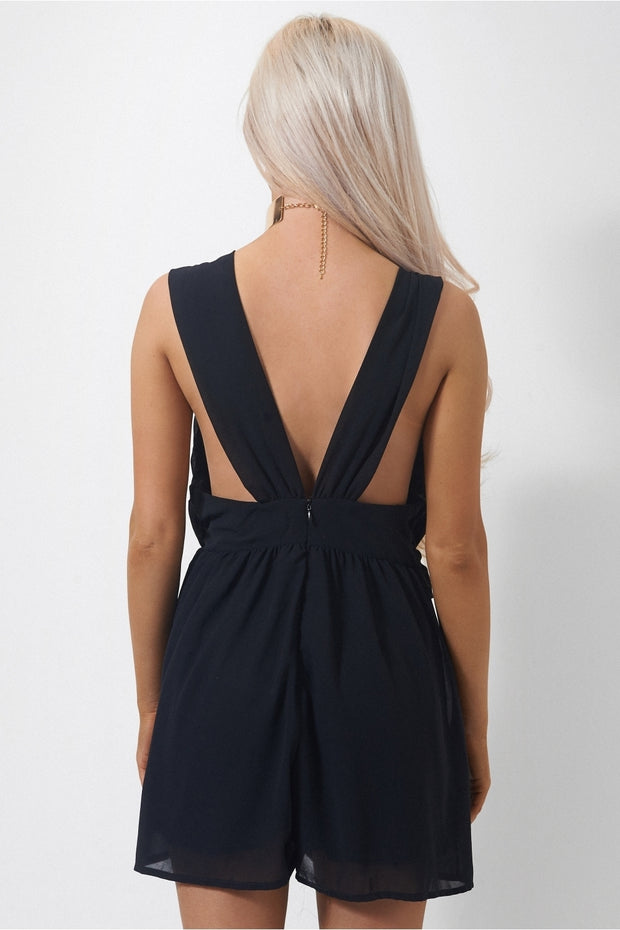 Emilia Black Chiffon Playsuit