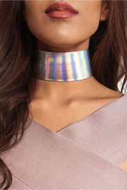 Wide Holographic Mermaid Choker