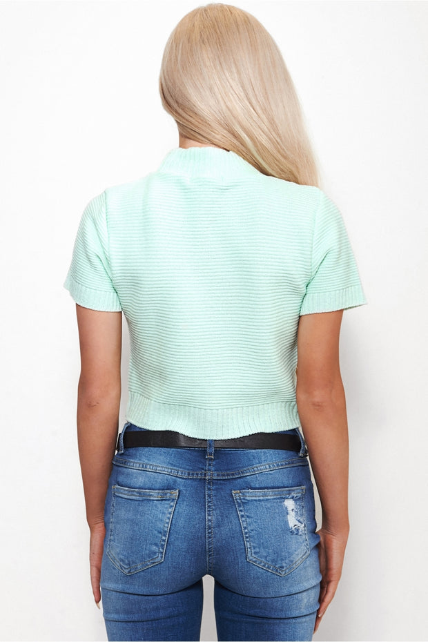 Mint Green Cropped Boxy Jumper