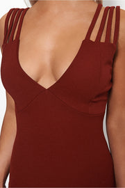 Lola Burgundy Strap Bodycon Dress
