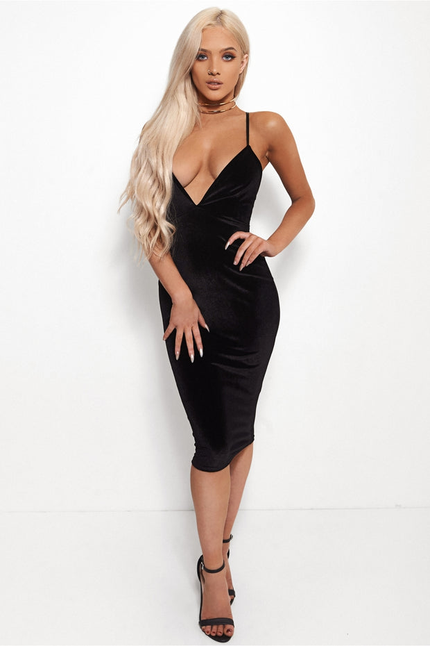 Seductive Cross Back Black Velvet Midi Dress