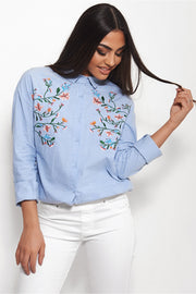 Milly Blue Embroidered shirt