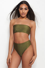 Mica Khaki High Waisted Bikini