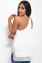 Oversized Racer Back Chiffon Vest Top In White