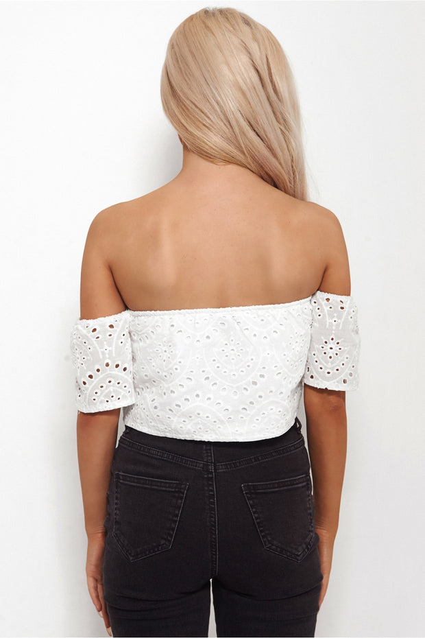 Leila White Bardot Crop Top