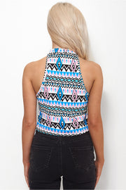 Blue Aztec Crop Top