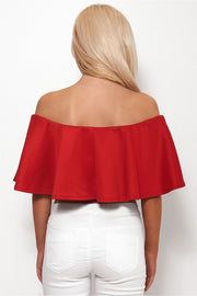 Faye Red Bardot Frill Top